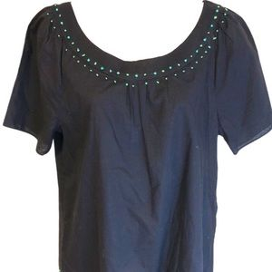J. Crew Cotton Embroidered Top Navy Turquoise
